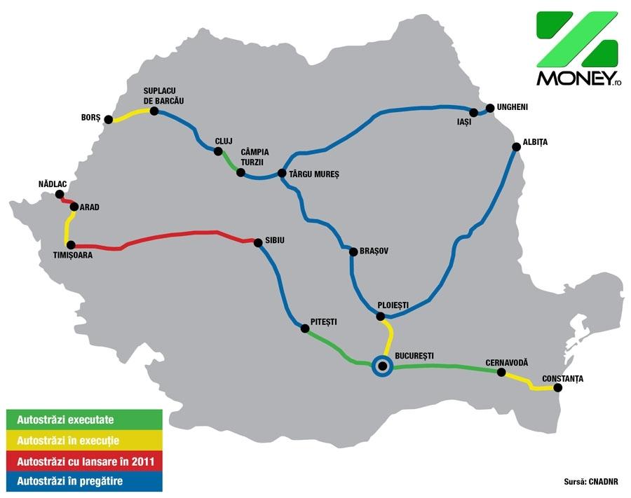 Harta Autostrazi Romania Tecuci