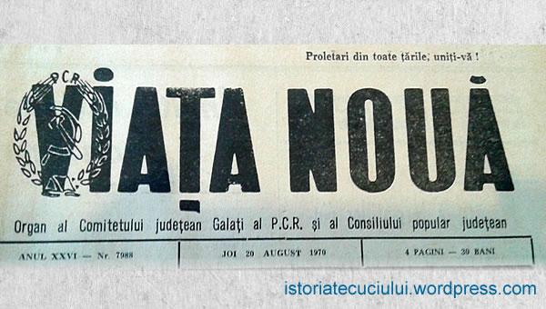 """""""Viaţa Nouă"""" nr. 7988, din 20 August 1970 vorbea despre viaţa culturală a Tecuciului unde este amintit profesorul Vasile Ghica"""