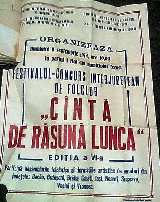 Festivalul interjudețean de folclor Cântă de răsună lunca din anul 1974